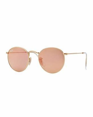 Ray-Ban Round Metal-Frame Sunglasses with Pink Lens $175 thestylecure.com