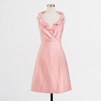 J.Crew Factory Factory seersucker ruffle V-neck dress