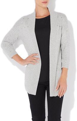 Wallis Grey Studded Long Cardigan