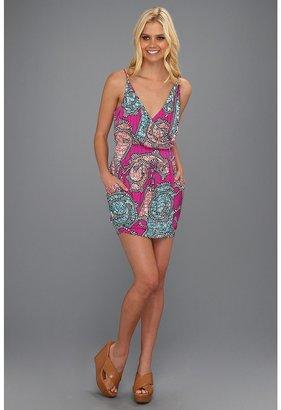 T-Bags Tbags Los Angeles - Spaghetti Strap Faux Wrap Mini Dress (VA10 Print) - Apparel