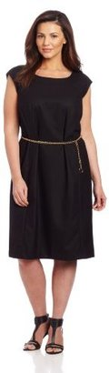 Jones New York Women's Plus Size Classic Dress With Belted Chain