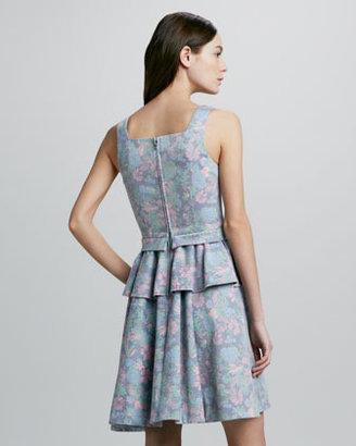 Marc by Marc Jacobs Drew Printed Denim Peplum Dress