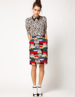 Peter Jensen Pencil Skirt In Safari Print