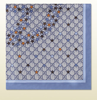Gucci periwinkle and blue interlocking G star print silk carrè