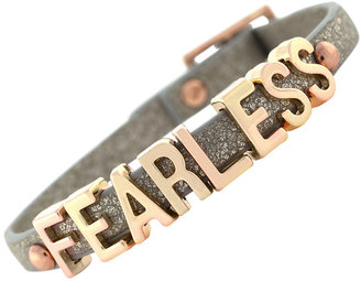 "BCBGeneration Bracelet, Rose Gold-Tone Platinum Glitter PVC ""Fearless"" Mini Affirmation Bracelet"