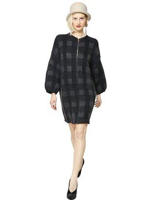 Emporio Armani Checked Mohair Wool Jacquard Coat