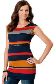 A Pea in the Pod Short Sleeve Boat Neck Belted Maternity Tunic