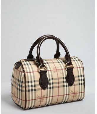 Burberry beige and black check and chocolate leather handbag