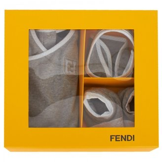 Fendi Gray Logo Trim Romper Set