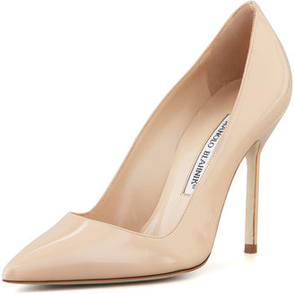 Manolo Blahnik BB Patent 105mm Pump, Nude (Made to Order)