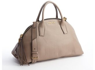 Miu Miu Pumice Leather Convertible Trapezoid Tote