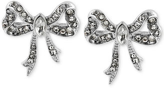 Betsey Johnson Silver-Tone Crystal Bow Stud Earrings