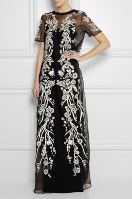 Embroidered silk-blend voile gown