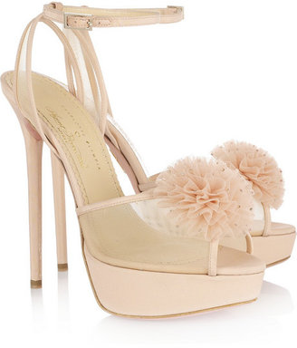 Charlotte Olympia + Agent Provocateur Candice crystal pompom silk sandals