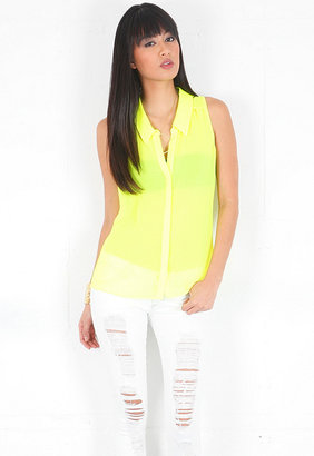 Rory Beca Jerry Sleeveless Collar Top with Keyhole in Acid Yellow