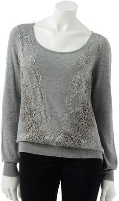 Lauren Conrad embroidered lace sweater