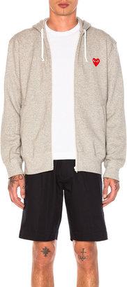 Comme des Garcons Red Emblem Zip Cotton Hoodie in Grey | FWRD