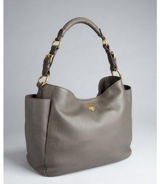 Prada graphite pebbled leather medium hobo bag