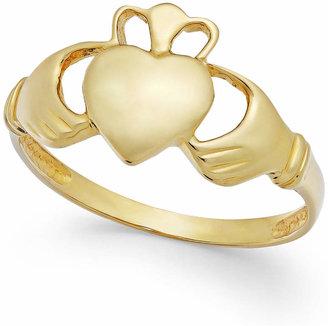Italian Gold Claddagh Ring in 14k Gold