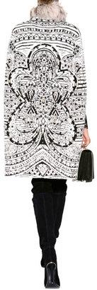 Emilio Pucci Wool Cape with Fur Collar in Black/White