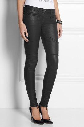 Karl Lagerfeld Paule low-rise waxed skinny jeans
