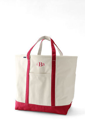 Lands' End Extra Large Natural Zip Top Canvas Tote Bag
