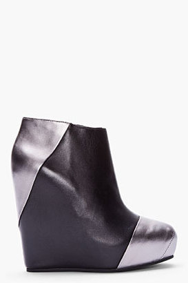 Balmain PIERRE Black combo Wedge ankle boot