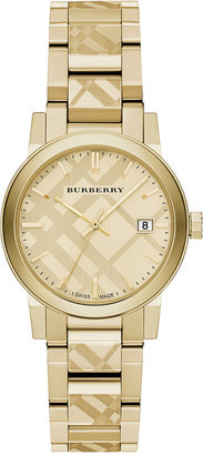 Burberry Women's Swiss Gold Ion-Plated Stainless Steel Bracelet Watch 34mm BU9145 $795 thestylecure.com