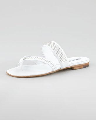 Manolo Blahnik Susabor Toe-Ring Studded Flat Sandal, White