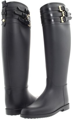 Burberry Equestrian Rain Boot With Leather Belts (Black) - Footwear