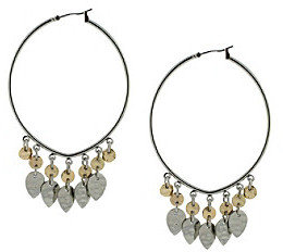 Jessica Simpson Shimmering Oasis Two-Tone Hanging Charms Hoop Earrings