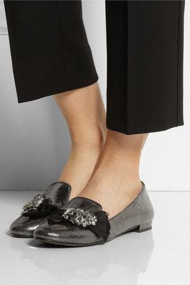 Miu Miu Embellished metallic cracked-leather loafers