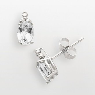 Sterling silver white topaz & diamond accent stud earrings