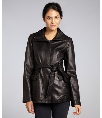 Cole Haan black leather belted jacket
