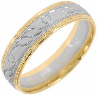 MODERN BRIDE 10K Two-Tone Gold Womens Engraved Milgrain 5mm Wedding Band