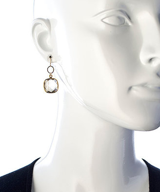 Athena Designs Gold And Quartz Square Drop Earrings
