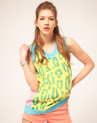 SISTER by SIBLING Knitted Tank in Pastel Leopard