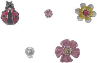 Betsey Johnson Garden Party Ladybug Flower 5-Set Earrings (Multi) - Jewelry