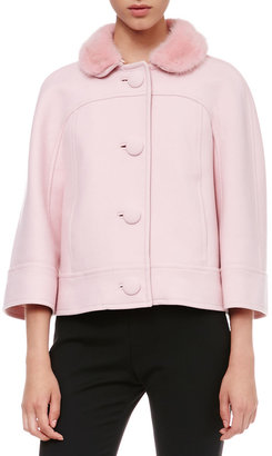 RED Valentino Fur-Collar Swing Jacket