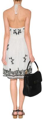 Anna Sui Victorian Embroidered Dress in Cream Multi