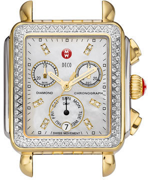 Women's Michele Deco Diamond Diamond Dial Two-Tone Watch Case, 33Mm X 35Mm $1,895 thestylecure.com