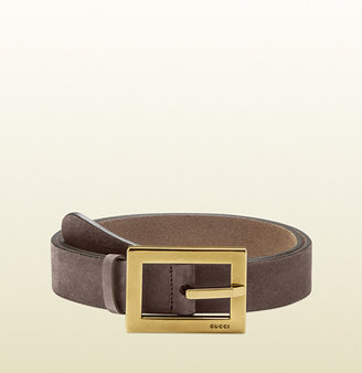 Gucci Mauve Leather Belt With Square Buckle