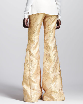 Wes Gordon Filigree-Brocade Bellbottom Pants