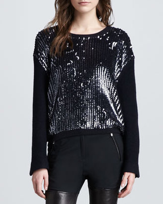 3.1 Phillip Lim Sequined Wool Pullover Sweater, Charcoal