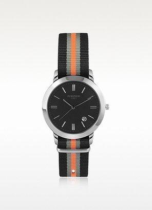 Forzieri Cesare Black Fabric Strap Date Watch