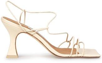 Miista Sally Crab 80 Ivory Leather Sandals