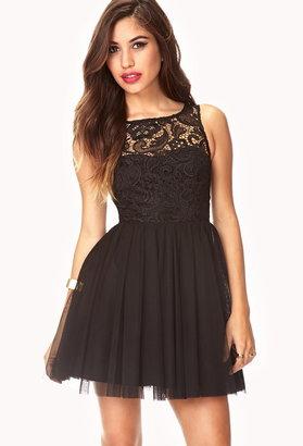 Forever 21 Romantic Crochet Tulle Dress