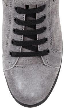Prada Suede Wedge Sneaker, Gray