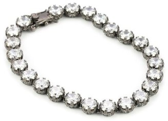 "Kenneth Jay Lane CZ by Trend Cubic Zirconia"" Crown Set Rhodium-Plated Tennis Bracelet, 35 CTTW"