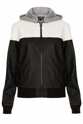 Topshop Leather look bomber